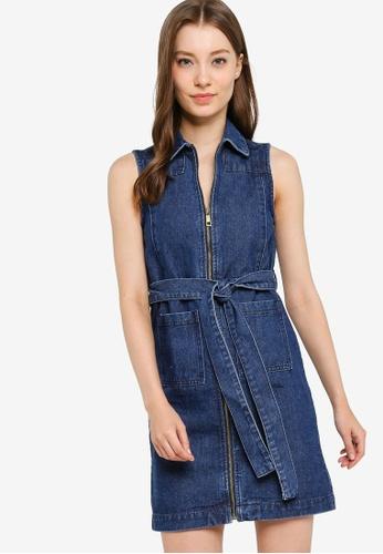 ZALORA blue Denim Zipper Shift Dress with Self Tie D5679AA8740FF8GS_1