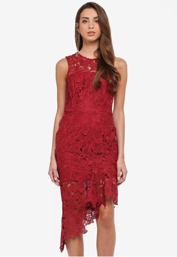 River Island red Zizi Lace Midi Dress 3FBCBAA11F066AGS_1