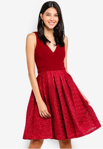 WALG red Emb Skirt Skater Dress 0FD28AAC7A95BDGS_1