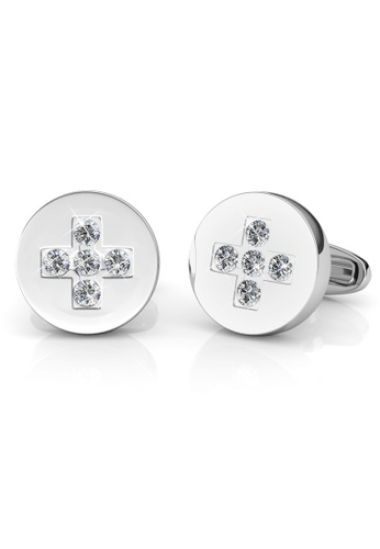 Her Jewellery silver Cufflinks Chris embellished with Crystals Swarovski B3EDCACB258002GS_1
