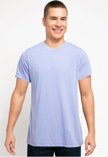 Tolliver purple V Neck Basic Short Sleeve Tee A494CAACBA028EGS_1