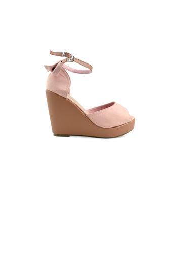 SHINE pink Bowknot  Platform Wedge Sandals 14D81SH71EA57EGS_1
