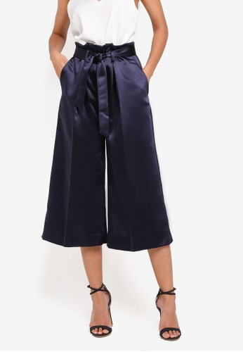 CLOSET navy Tie Pleated Waist Trousers D5513AA06F0AD1GS_1
