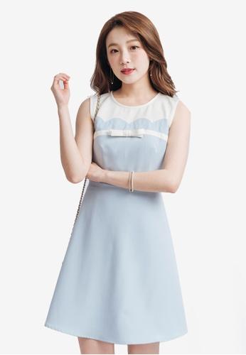 Yoco blue Skater Dress with Ribbon Detail 58E05AA9F6A329GS_1