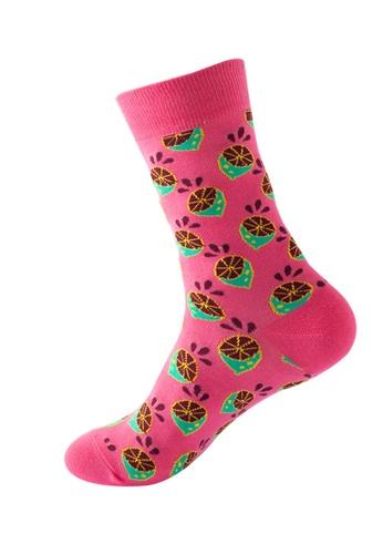 Kings Collection pink Lemon Pattern Cozy Socks (One Size) HS202250 19234AA25CC8E0GS_1