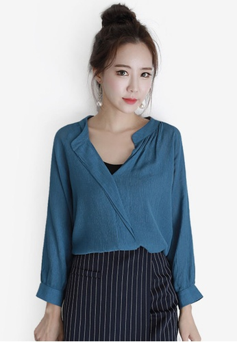 Eyescream blue and navy Wrap Blouse EY853AA0SHJ9MY_1