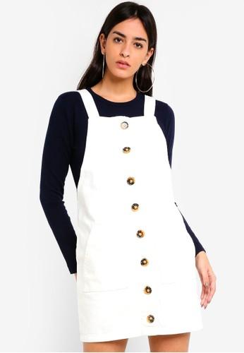 MISSGUIDED white Horn Button Through Denim Pinafore Dress FC726AA17BA073GS_1