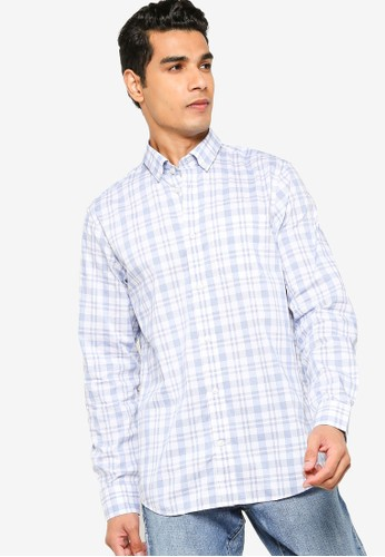GAP blue Long Sleeve Performance Cotton Shirt 777F8AAE5774FAGS_1