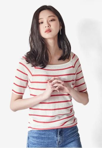 3433bf35c5cdca Shop NAIN Square Neck Stripe Knit Top Online on ZALORA Philippines
