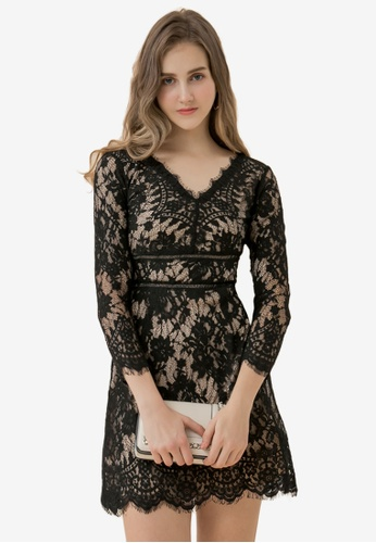 Eyescream black V Neck Lace Dress 0758DAA5FE9889GS_1