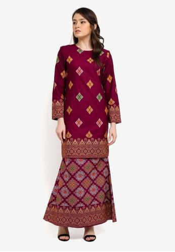 Butik Sireh Pinang purple Kirana Cotton Modern Kurung with Songket Print BU003AA0S26ZMY_1
