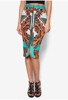 Floral Print Split Front Pencil Skirt