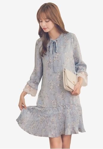 Yoco blue Floral Tie Ruffle Dress 1091AAAD6C53CFGS_1
