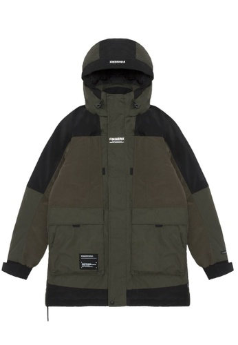 Fingercroxx green Hooded logo down jacket DF318AA1EA7D07GS_1