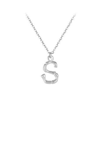 Glamorousky silver Fashion Simple English Alphabet S 316L Stainless Steel Pendant with Necklace C3DC5AC4C44774GS_1