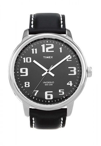 TIMEX black Timex Easy Reader™- Black/Silver Leather TI857AC54WLHSG_1