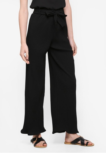 BYN black Pleated Pants With Waist Tie C2DE3AA90ED110GS_1