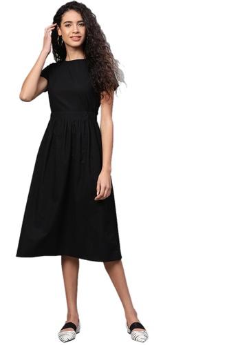 SASSAFRAS black Black Back Placket Gathered Dress 58AD1AA30B228BGS_1