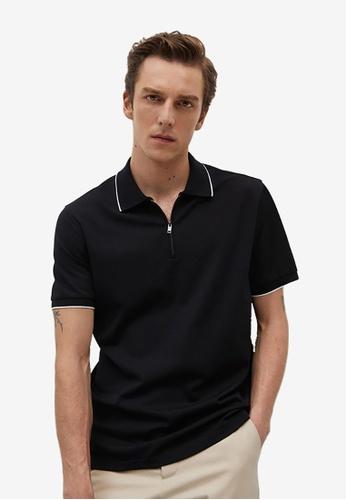 MANGO Man black Technical Zip-Up Knitted Polo Shirt 178DFAA9736632GS_1