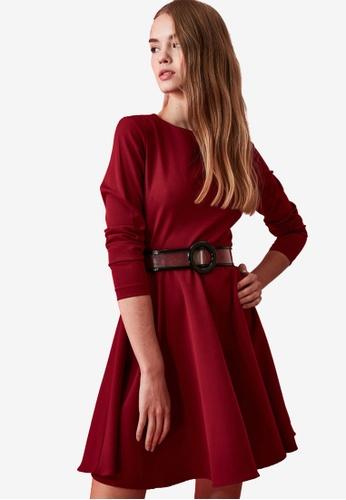 Trendyol red Long Sleeve Skater Dress 44B7EAA5685004GS_1