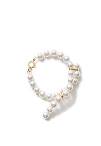 MONDAY EDITION white and gold Cross-ended Pearl Bracelet CE3A9AC138C2B9GS_1