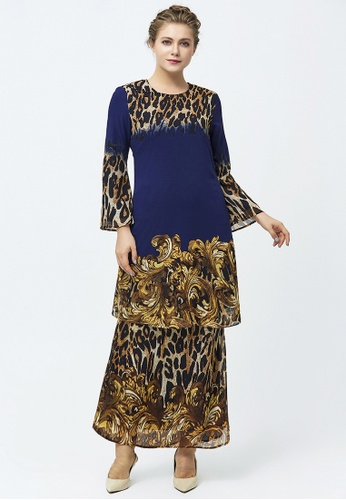 Era Maya yellow and blue and gold Ombak Safari Leopard Prints Baju Kurung Chiffon AB50CAA778F97EGS_1