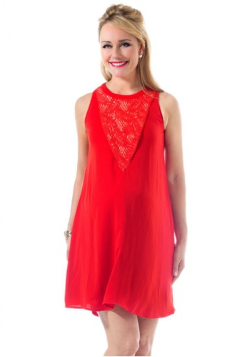 Bove by Spring Maternity red Woven Short Sleeve Caterina Halter V Dress Aurora Red (IDN5401) SP010AA69DHMSG_1