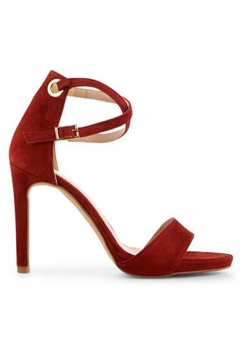 Minelli brown F93 115/VEL Velvet Strap Sandals - Talie MI352SH0FJEPSG_1
