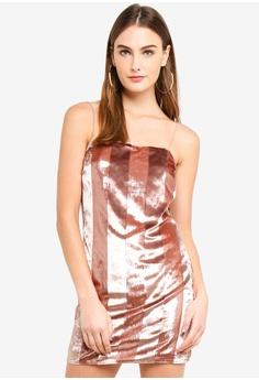 51f61aab1cf0 Miss Selfridge pink Pink Velvet Stripe Mini Dress 2FDFCAA695E7CDGS_1