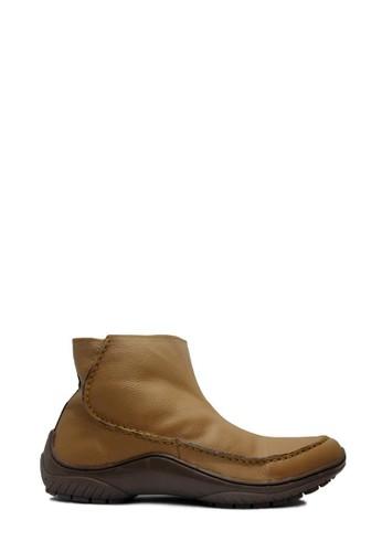 D-Island brown D-Island Shoes Zipper Slip On Rajut Genuine Leather Soft Brown DI594SH53EXUID_1