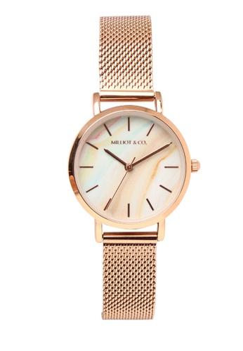 Milliot & Co. 橘色 Trixie Rose Gold Mesh Strap Watch C873BACBB5119DGS_1