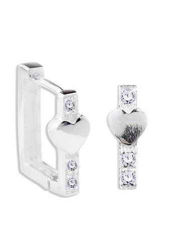 SC Tom Silver silver Square Type Heart Design Clip Stone Earrings - TESL018 SC872AC61NPQPH_1