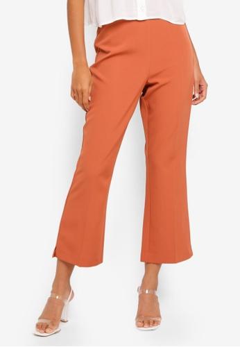 Buy Miss Selfridge Rust Ankle Kick Flare Trousers Zalora Hk