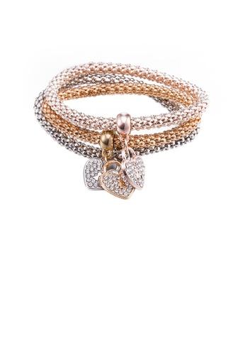 Glamorousky white Fashion Tri-Color Heart Bracelet with Austrian Element Crystal 43C36AC1FCEBABGS_1