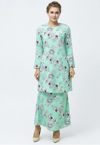 Era Maya black and white and green Seaform Green Floral Outline Baju Kurung Pearl Crepe 85089AA405ED3DGS_1