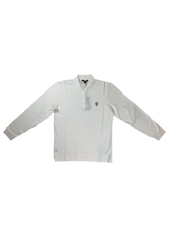 Gucci white PRE-LOVED GUCCI COTTON LONG SLEEVE POLO WITH ANCHOR CREST BBBF7AA8A3ACCBGS_1