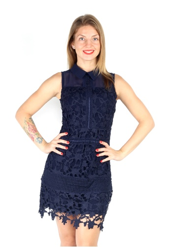 000a4b2d9bb0 London Rag navy London Rag Womens Blue lace Short Sheath Cocktail Dress  C3F20AA7B0E42DGS 1