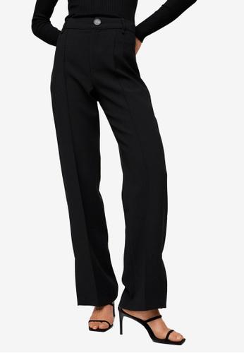 Mango black Side Slit Suit Trousers 0310AAAEC9A762GS_1