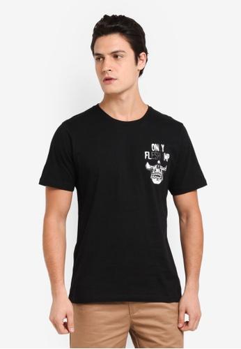Flesh IMP black Megadeth Printed T-Shirt 93095AAF84DD6DGS_1