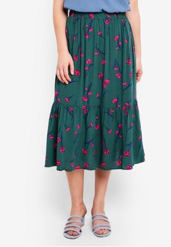 Cotton On green Woven Cherry Midi Skirt 578B7AA46070A5GS_1