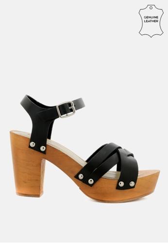 RAG & CO 黑色 纵横交错的脚踝带凉鞋 DA327SHA9FC2FDGS_1