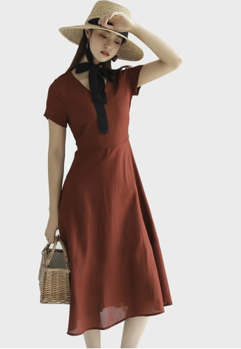 Shopsfashion red Open Back Fit & Flare Midi Dress in Maroon BF2BBAA691D2F3GS_1
