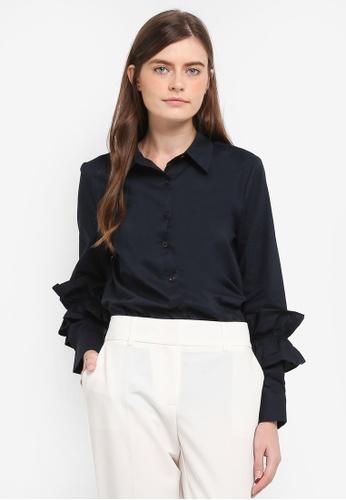 Zalia navy Frill Cuff Shirt F2545AA1D074BFGS_1
