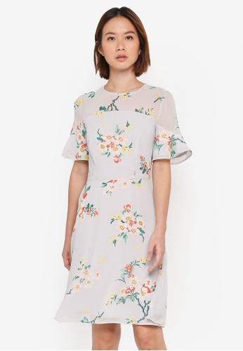 WAREHOUSE grey Blossom Flippy Dress 69DD5AA3EBBA19GS_1