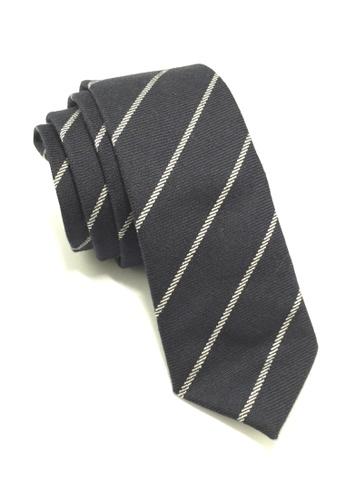 Splice Cufflinks Daffy Series Navy Blue Stripes Skinny Viscose Tie SP744AC05QLQSG_1