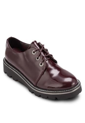 漆皮繫帶厚底鞋, esprit 台中女鞋, 鞋