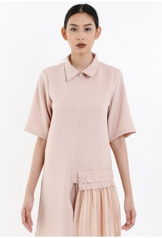 [PRE-ORDER] Blush Shirt-Dress with Collar and Pleated Detail