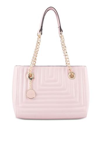 ZALORA pink Linear Quilting Chain Bag AAA2EZZ09B8050GS_1