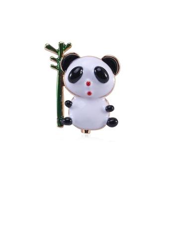 Glamorousky silver Simple and Cute Plated Gold Panda Bamboo Brooch 7DA3EAC043BAE2GS_1