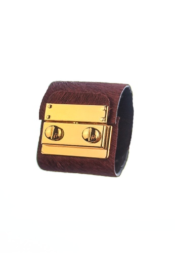 CSHEON red SECRET CODE CUFF BRACELET - RED PURPLE PONY HAIR LEATHER 316FBAC8185956GS_1